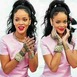 Rihanna Clip Ponytail наращивание волос человека вьющиеся волнистые шиньоны 10-22inch 140 г drawsring Pony tails женская мода 5 цветов