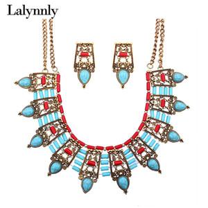 Lalynnly Vintage Statement Necklace Sets Collana girocollo in oro con collana con pietre Orecchini a goccia blu Set di gioielli da donna N62081