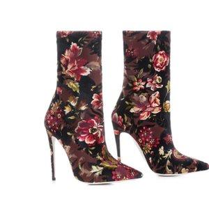 Alta calidad moda mujer zapatos de tacón fino Moda de lujo diseñador mujer zapatos superestrellas botas Sexy medias botas mujeres zapatos de vestir