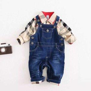 Çocuklar Sonbahar tasarımcı Kıyafetler Bebek Boys yaka uzun kollu ekose gömlek + denim askı pantolon 2 adet Çocuk Giyim setleri Y754