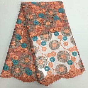 El último Peach French Net Lace Tela Africana de Encaje Africano Del Cordón Africano de Alta Calidad Para Vestido de Fiesta Envío Gratis SML81030-33