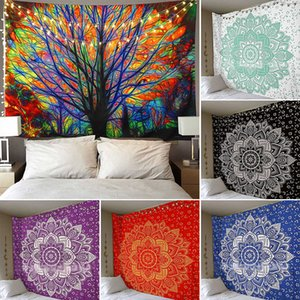Tree Tapestry Wall Hanging Psychedelic Forest With Birds Bohemian Mandala Hippie Tapestry For Bedroom Living Room Yoga Mat Cover WX9-681