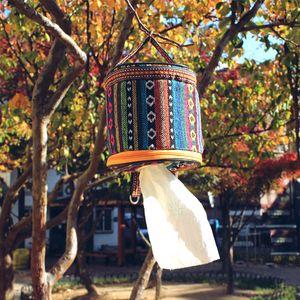 Caja de pañuelos de estilo nacional bolsas de almacenamiento de servilleta plegable redonda para acampar al aire libre colgando caja de papel higiénico creativo 7 5gt B