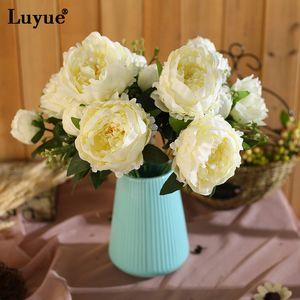 모란 꽃 꽃다발 Belas 플로레스 인공 모란 꽃다발 꽃 실크 생생한 모란 웨딩 파티 장식 Flore