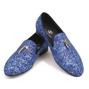 nuovi colori blu e cielo blu a mano mocassini classico maschile con metallo oro nappe partito scarpe di cuoio uomini