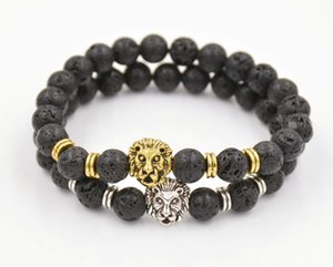 Natural Lava volcanic Buddha Leo Lion Head Bracelet Black Lava Stone Bead Bracelets Men Women Jewelry Rope Chain Strand Bracelet