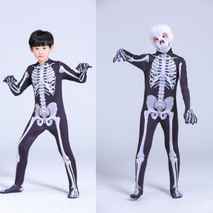 Çocuklar Vintage İskelet Korkunç Kostüm Sıska Tulum Uzun Kollu Bodysuit 3D Kafatasları Cadılar Bayramı Cosplay Suit