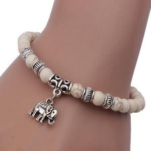 Fashion Tibetan Tibet Silver Elephant Pendant White Turquoise Beads 6mm Elastic Bracelet Bangles For Women Pulseiras Boho Jewelry Gift