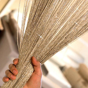 NOVO Projeto 200 X100cm brilhante Tassel flash Linha de prata da corda cortina Janela Porta Divisor Sheer cortina Valance Decoração