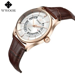 WWOOR Quartz Watch for men Genious leather watchband wrist watch reat gift for friend families free shipping 8863