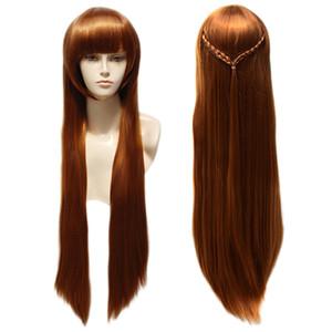 Pelucas de pelo de cosplay rectas largas Pelucas sintéticas resistentes al calor Ninguna Peluca de encaje para mujeres negras Caja trenzada Braids peluca