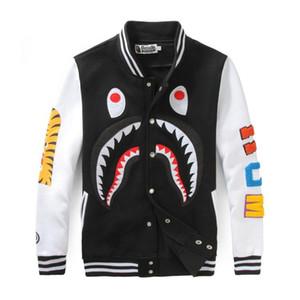 Мужская одежда Оптовая Марка акула рот печати досуг свитер и пары платье бейсбольная рубашка размер свободные кардиган куртка