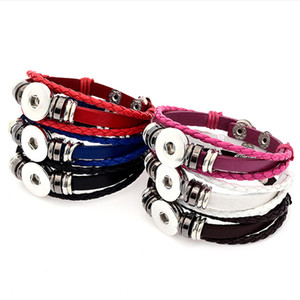 New Women's Fashion Charms bangle Leather Bracelets 18MM Snap Button Bracelet Handmade Adjustable diy jewelrys cuff link hand chain gift