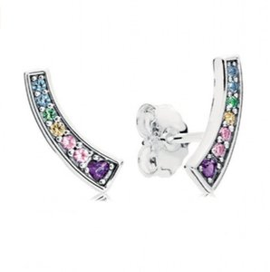 New Authentic 925 Sterling Silver Brincos Para Mulheres Multi-Cor Arcos Brincos com Cristal Menina Presente fit Lady Jóias Finas