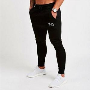 2018 Yeni Erkek İnce Kalem Pantolon Elastik Erkekler Vücut Geliştirme Uzun Tam Pantolon Uzunluk Orta Düz Günlük Moda İpli