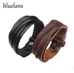 Bluelans 남성 여성 유니섹스 멀티 끈 꼰 얇은 가죽 팔찌 팔찌 쥬얼리 항목 00JS