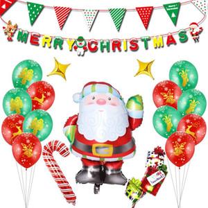 DIY Noel Bayrakları Noel Baba Balon Set Çiçek Bunting Afişler Merry Christmas Dekorasyon Ev Partisi Dekorasyon Malzemeleri