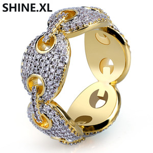 Hip Hop Herren Gold Ring Micro Pave Zirkon Iced Out Gliederkette Ring Fingle Bling Schmuck