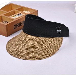 Clip para mujer de verano en Sun de la paja de ala ancha visera superior vacío sombreros de Sun Beach Cap