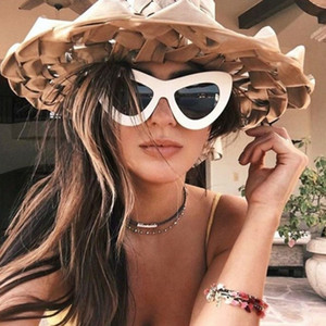 10 colores Rose Gold Cat Eye Sunglasses para mujeres Pink Mirror Shades Female Sun Glasses Black White Coating Cateye Aviation Oculos 2018