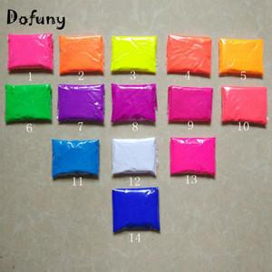 도매 14 색 혼합, 색상 당 10g 형광 파우더 안료 화장품 비누 네온 파우더 네일 반짝이 140g