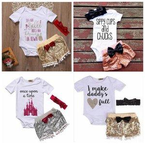 Baby girl INS cartas mamelucos traje Niños manga corta paillette niños Ropa de bebé 3pcs establece ropa 7 Estilos yl08