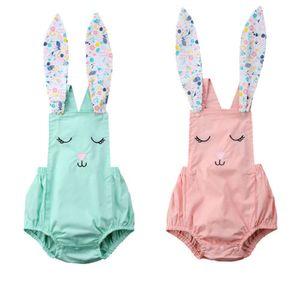Yaz bebek kız tavşan onesies romper tulum kıyafet çocuk giyim kız güzel çiçek hayvan pembe yeşil-bule bodysuit sunsuit 0-24 M