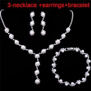 Simulado Perla Collar Pendientes Pulseras Conjuntos Simple Cristal Novia Conjuntos de joyas de boda Mujeres Regalo de fiesta