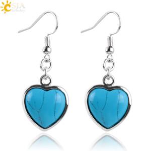 CSJA Reiki Chakra Love Heart Shape Natural Gem Stone Bead Hook Dangle Pendant Drop Earrings Jewelry Gift for Women Girls E166