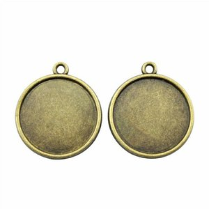25 Pieces Cabochon Cameo Base Tray Bezel Blank Accessories Jewelry Classic One Hanging Inner Size 20mm Round flatback resin cabochons