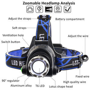 Lampe frontale led rechargeable CREE XMLT6 5000Lumens Zoom Lampe frontale lampe torche LED Lampe frontale + 18650 Batterie Lampe frontale lanterne