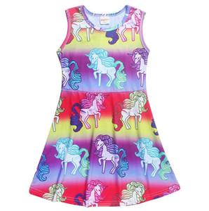 Sleeveless Unicorn Print Prinzessin Kleid Kleinkind Kinder Mädchen Regenbogen Casual Party Mini Kleid Weihnachtsgeschenk EEA44