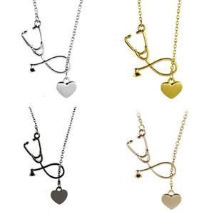 Stethoskop Anhänger Halsketten Herz Legierung Anhänger Mit 24 zoll Kette Frauen Halsketten Modeschmuck 4 Farben
