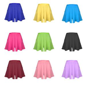 Nevettle cintura alta plissada perna larga saia Shorts Mulheres Doce cor Praia solto Modal algodão calças curtas Casual Feminino