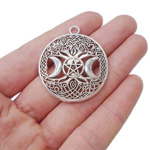5 × العتيقة الفضة التبتية سلتكس شجرة الحياة ثلاثية القمر آلهة سحر المعلقات الخرز لصنع المجوهرات 35x35 ملليمتر