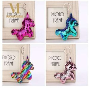 Cute Shiny Unicorn Horn Keychain Fashion Mermaid Sequins Animal Horse Key Chain Keyrings for Women Car Bag Pendant Jewelry