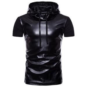 Erkek Deri Panelli Kapşonlu Casual T-Shirt Yüksek Sokak Kısa Kollu Hoodies Erkek Hip Hop Ekip Boyun T-Shirt