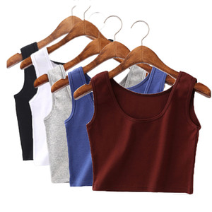 5pcs lot Free Shipping With E pack Sexy Women Tight Tops Tanks Sleevess U Neck Tees Camis Soild Colourful Cotton Vest Grop Tops