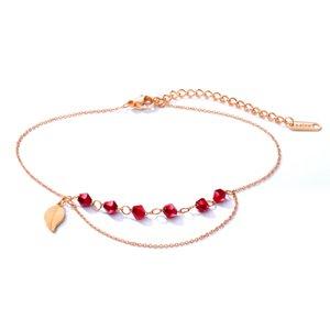 Лето чешский рубиновый красный кристалл CZ бусины кисточкой цепи щиколотке пляж босые ноги цепи