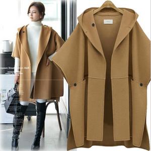 2018 Hot Sale Women European Woolen Coat Hooded Women Batwing Sleeve Eatra Size Woolen Cape Loose Trench Coats 5XL