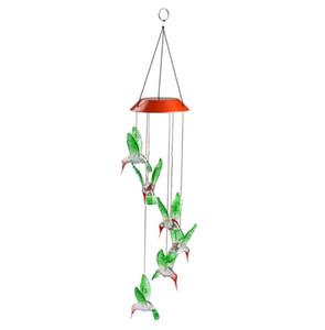 Solar Cor-Em mudança de vento LED Chime Luz Tipo Pássaro Outdoor Hummingbird Wind Chimes Início Decor Jardim Luz Solar
