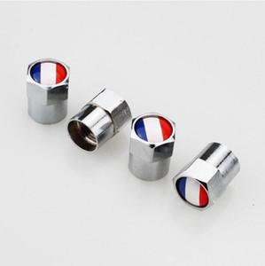 Bandiera francese Mini Valvole valvole per pneumatici in metallo Tappi antipolvere per pneumatici MT Distintivo per auto Distintivi per emblemi Tappo valvola per auto Mini valvola ugello per gas