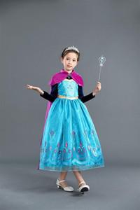 Kızlar Dondurulmuş Prenses Elbiseler 2018 Çocuklar Cosplay ANNA Giysi Çocuk Parti Elbise Toddler Cadılar Bayramı Elbise 100-150 cm Için