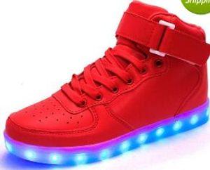 eur 25-43 Dance Led Dance золотой светящийся золотой красный Загорается USB Зарядка высокий верх Мигает в кроссовках Повседневная обувь для взрослых и детей ма