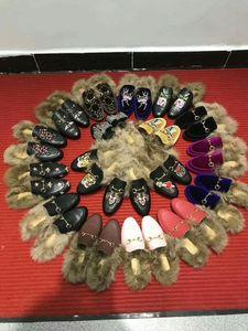 Las nuevas mujeres Princetown Gamuza de cuero de terciopelo deslizador con Real de piel de conejo Mocasines de invierno Moleta plana EUR35-42 con caja