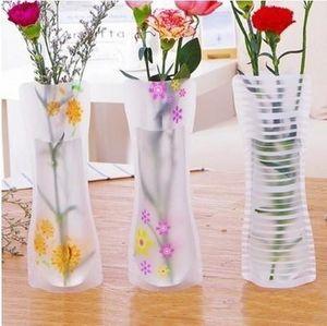 50pcs 뜨거운 창조적 인 명확한 PVC 플라스틱 화병 물 주머니 Eco-friendly Foldable 꽃병 재사용 할 수있는 가정 결혼식 훈장 꽃 화병