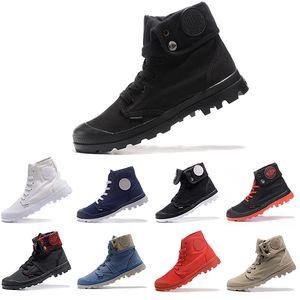 Ucuz Yeni PALLADIUM Pallabrouse Erkekler Yüksek Ordu Askeri Ayak Bileği erkek kadın çizmeler Tuval Sneakers Rahat Ayakkabı Kaymaz tasarımcı Ayakkabı 36-45