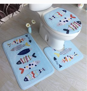 Nuovo Design Natale stampata cervi 3Pcs microfibra Bath Mats tappeti da bagno Set antiscivolo Tappetini Tappeti servizi igienici bagno Matrress