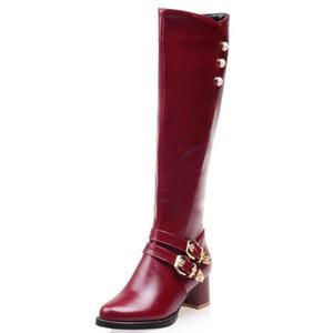 Boucle de ceinture surdimensionné chaussures américaines standard code knight bottes code haute tube automne et hiver, plus de bottes de velours pour femmes