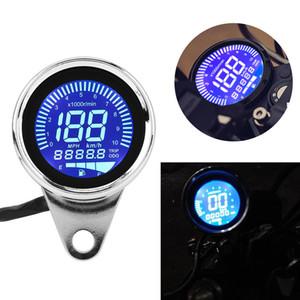 Medidor LCD de la motocicleta retro digital multifuncional LED velocímetro del odómetro tacómetro Fuel Cafe Racer para Vespa campo a través